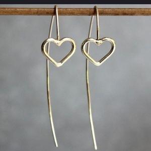 """Gold heart ❤ minimalist 2"""" earrings"""
